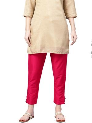 Women Dark Pink Polysilk Solid Trouser