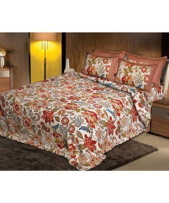 multicolor jaipuri Printed Double Bedsheet With Two pillow Covers (100*108)