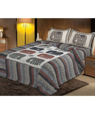 multicolor jaipuri Printed  heavy Double Bedsheet With Two pillow Covers (100*108)