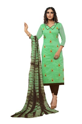 Sea-green embroidered art silk salwar
