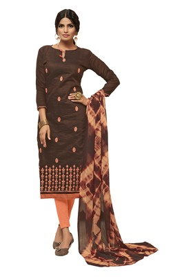 Brown embroidered art silk salwar