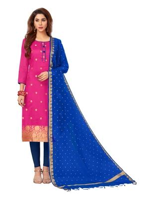 Pink woven banarasi silk salwar
