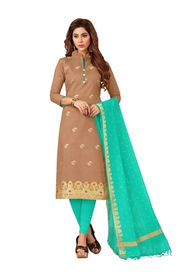 Light-brown woven banarasi silk salwar