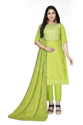 Light-green gota faux cotton salwar