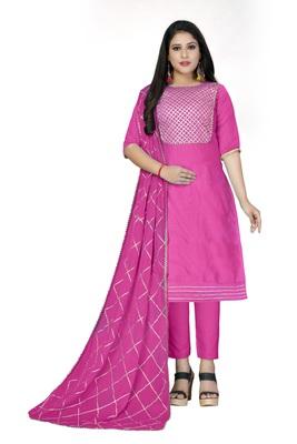 Pink gota faux cotton salwar