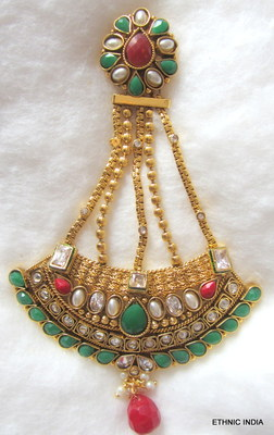 JHUMAR PASSA red green Gold plated Polki TIKA HAIR accessory HEAD JEWELERY