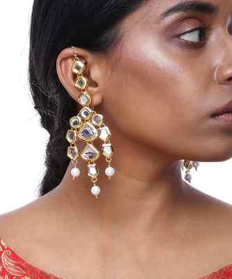 Kundan Earrings with Ear Chain