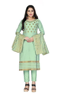 Light-sea-green embroidered faux cotton salwar