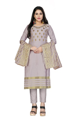 Light-purple embroidered faux cotton salwar