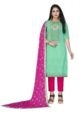 Sea-Green Gota Faux Cotton Salwar