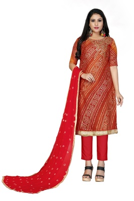 Red gota faux cotton salwar