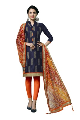 Blue embroidered faux cotton salwar