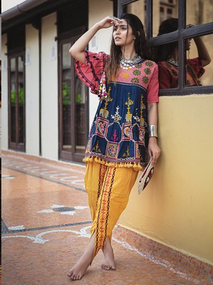 Navy blue khadi Embroidered kedia With one size sleeve and  tulip pants set