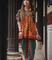Deep green and orange rajathani dhingli couple embroidered kedia and tulip pants set small