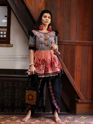 Peach and grey yoke tiny chandilier embroidered khadi kedia and black tulip pants set