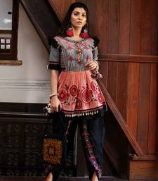 Peach and grey yoke tiny chandilier embroidered khadi kedia and black tulip pants set small