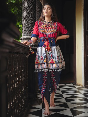 Red yoke and Parrot motif panel embroidered kedia and navy blue tulip pants set