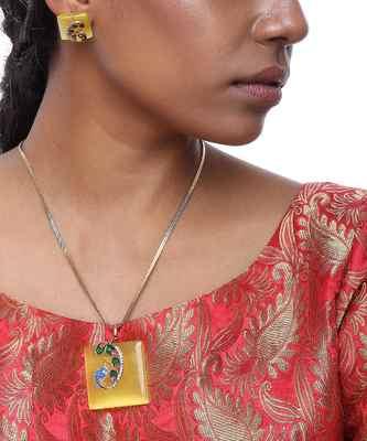 Peacock Neckpiece With Earrings