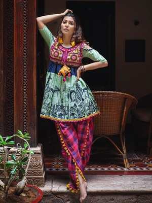 Parrot Green Elephant Embroidered Yoke And Colorful Yoke Kedia And Tulip Pants