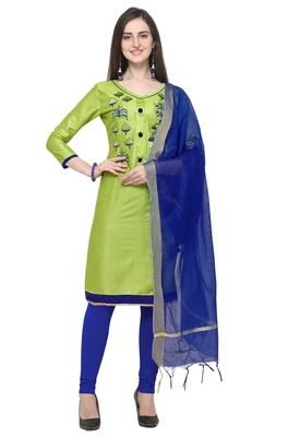 Blissta Light Green & Blue Color Cambric Cotton Unstitched Salwar Suit