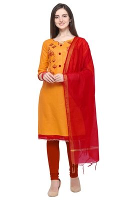 Mustrard & Red Color Cambric Cotton Unstitched Dress Material