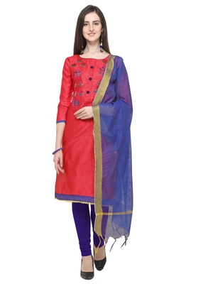 Pink & Blue Color Cambric Cotton Unstitched Dress Material