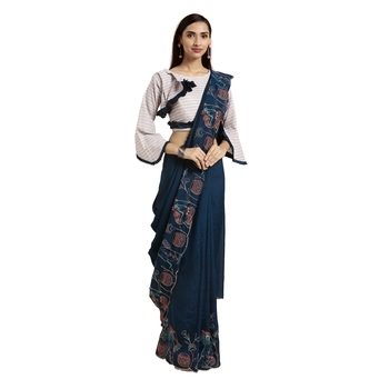 Navy blue printed silk blend saree with blouse