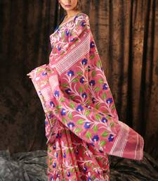 BABY PINK JAMDANI SAREE WITH ALL OVER FLORAL WOVEN DESIGN