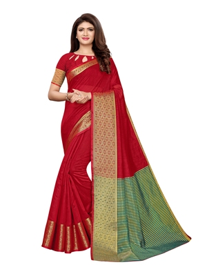 Maroon woven cotton silk saree with blouse