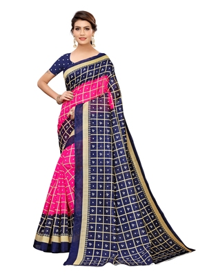 Navy blue printed poly silk saree with blouse