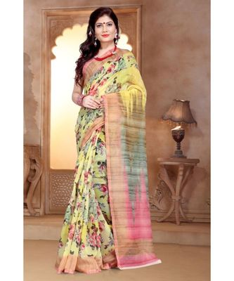 multicolor digital print chanderi linen saree with blouse