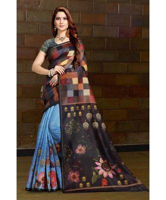 multicolor digital print chanderi linen saree with blouse