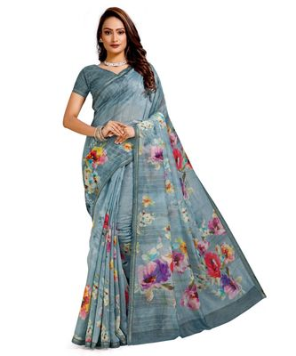 grey digital print chanderi linen saree with blouse