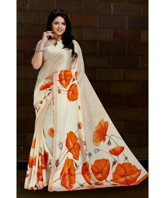 beige printed satin saree with blouse