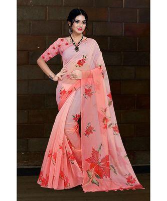 peach digital print organza saree with cotton muslin blouse
