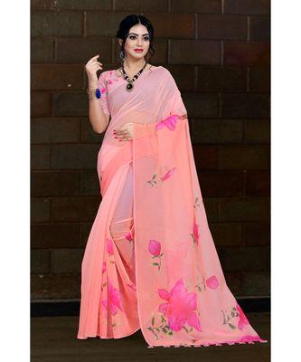 pink digital print organza saree with cotton muslin blouse