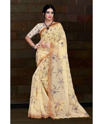 beige digital print organza saree with cotton muslin blouse