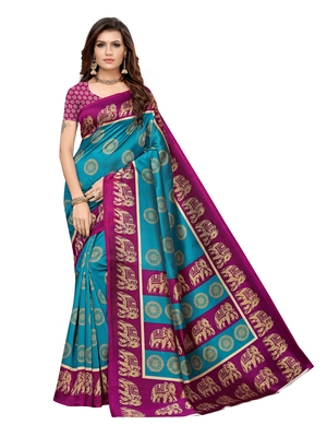 Turquoise printed poly silk saree with blouse