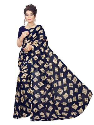 Navy blue printed georgette saree with blouse