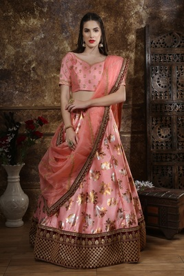 peach embroidered silk blend semi stitched lehenga choli