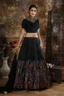 black embroidered silk blend semi stitched lehenga choli