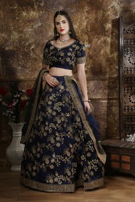 blue embroidered silk blend semi stitched lehenga choli