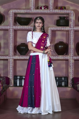 white embroidered cotton semi stitched lehenga choli