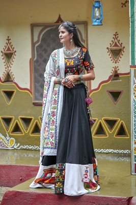 black embroidered cotton semi stitched lehenga choli
