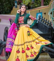 Yellow Embroidered Cotton Semi Stitched Lehenga Choli