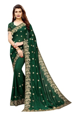 Dark Green Vichitra Silk Embriodered Saree With Blouse Piece.