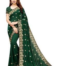 Dark Green Vichitra Silk Embriodered Saree With Blouse Piece.