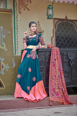 pink embroidered cotton semi stitched lehenga choli