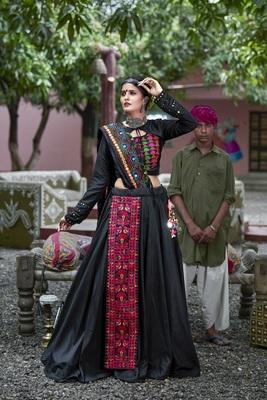 black embroidered cotton semi stitched lehenga choli