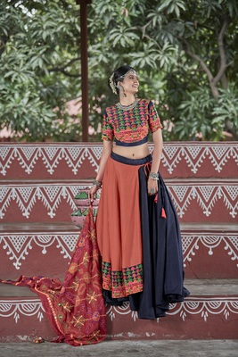 Blue Embroidered Cotton Semi Stitched Lehenga Choli